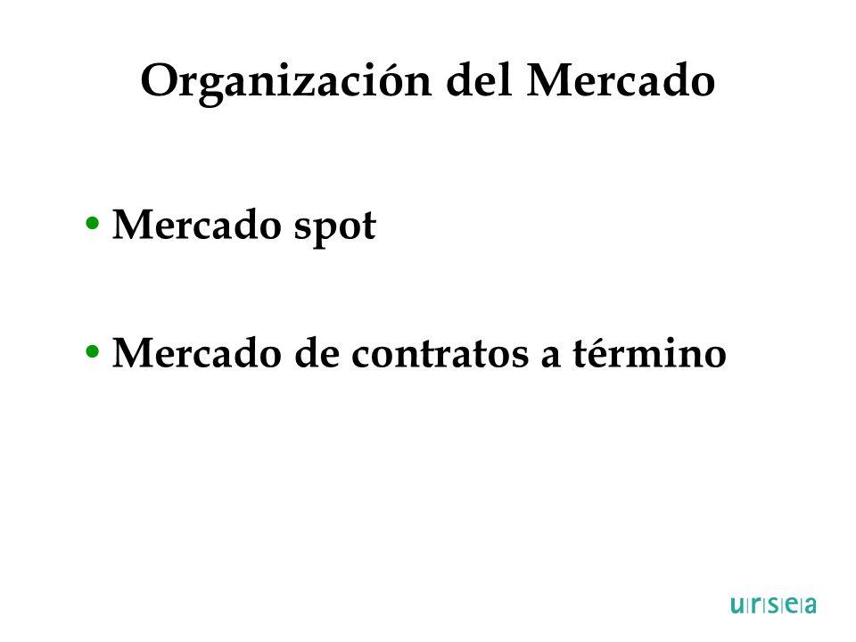 Organización del Mercado Mercado spot Mercado de contratos a término