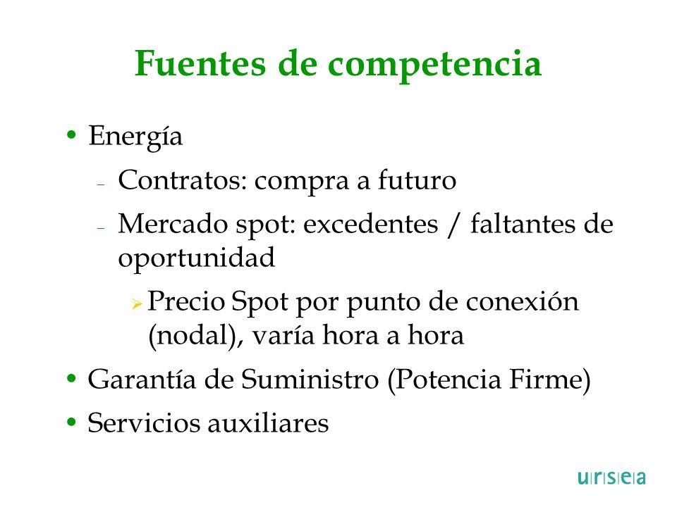 Fuentes de competencia Energía – Contratos: compra a futuro – Mercado spot: excedentes / faltantes de oportunidad Precio Spot por punto de conexión (n