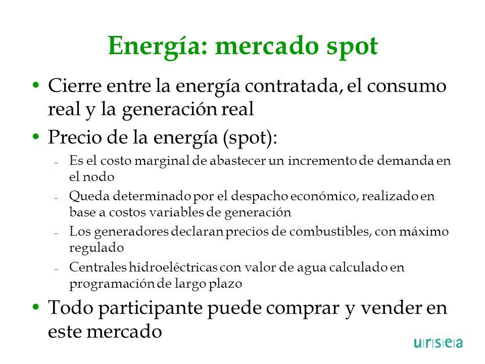 Energía: mercado spot Cierre entre la energía contratada, el consumo real y la generación real Precio de la energía (spot): – Es el costo marginal de