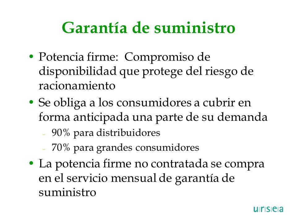 Garantía de suministro Potencia firme: Compromiso de disponibilidad que protege del riesgo de racionamiento Se obliga a los consumidores a cubrir en f
