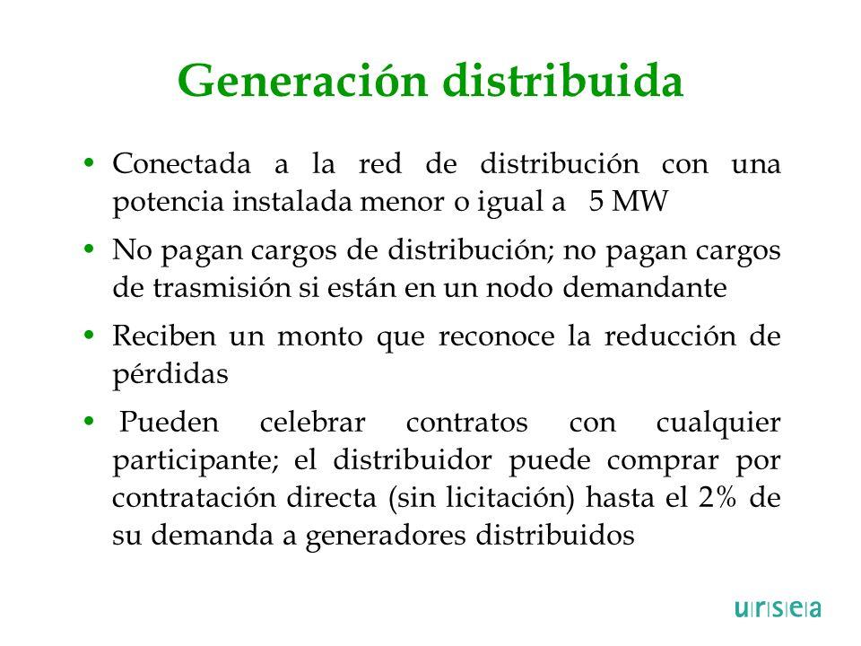 Generación distribuida Conectada a la red de distribución con una potencia instalada menor o igual a 5 MW No pagan cargos de distribución; no pagan ca