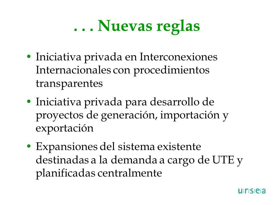 ... Nuevas reglas Iniciativa privada en Interconexiones Internacionales con procedimientos transparentes Iniciativa privada para desarrollo de proyect