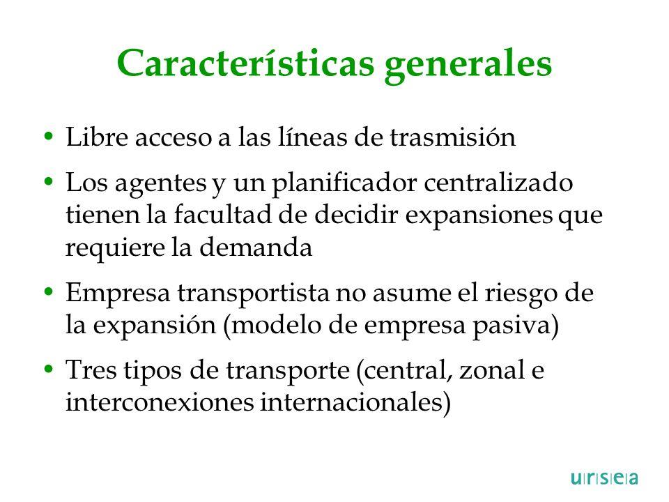Características generales Libre acceso a las líneas de trasmisión Los agentes y un planificador centralizado tienen la facultad de decidir expansiones