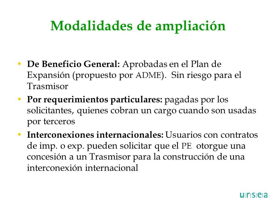 Modalidades de ampliación De Beneficio General: Aprobadas en el Plan de Expansión (propuesto por ADME ). Sin riesgo para el Trasmisor Por requerimient