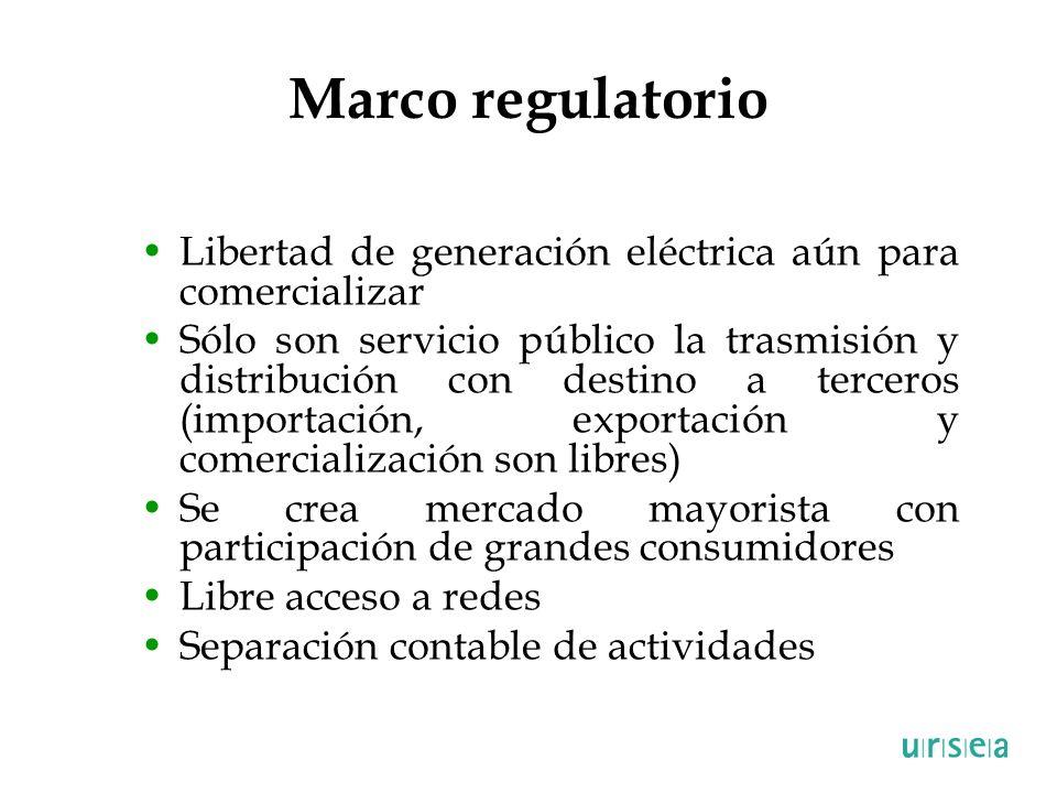 Marco regulatorio Libertad de generación eléctrica aún para comercializar Sólo son servicio público la trasmisión y distribución con destino a tercero
