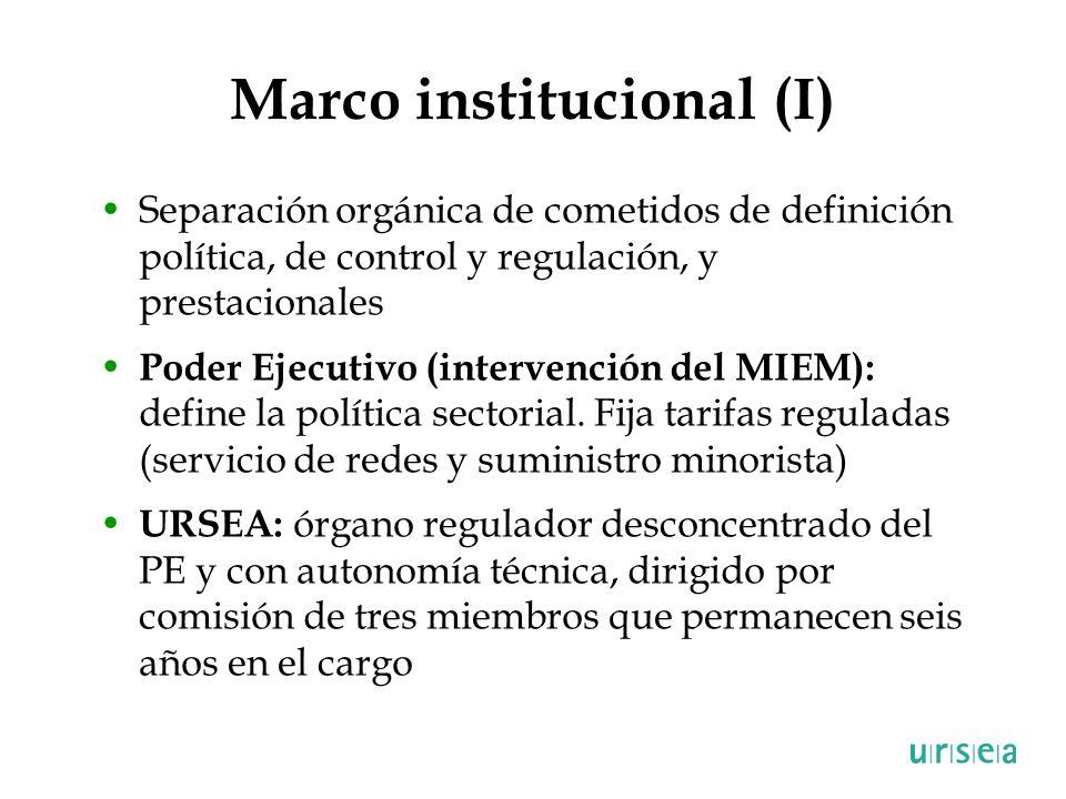 Marco institucional (I) Separación orgánica de cometidos de definición política, de control y regulación, y prestacionales Poder Ejecutivo (intervenci