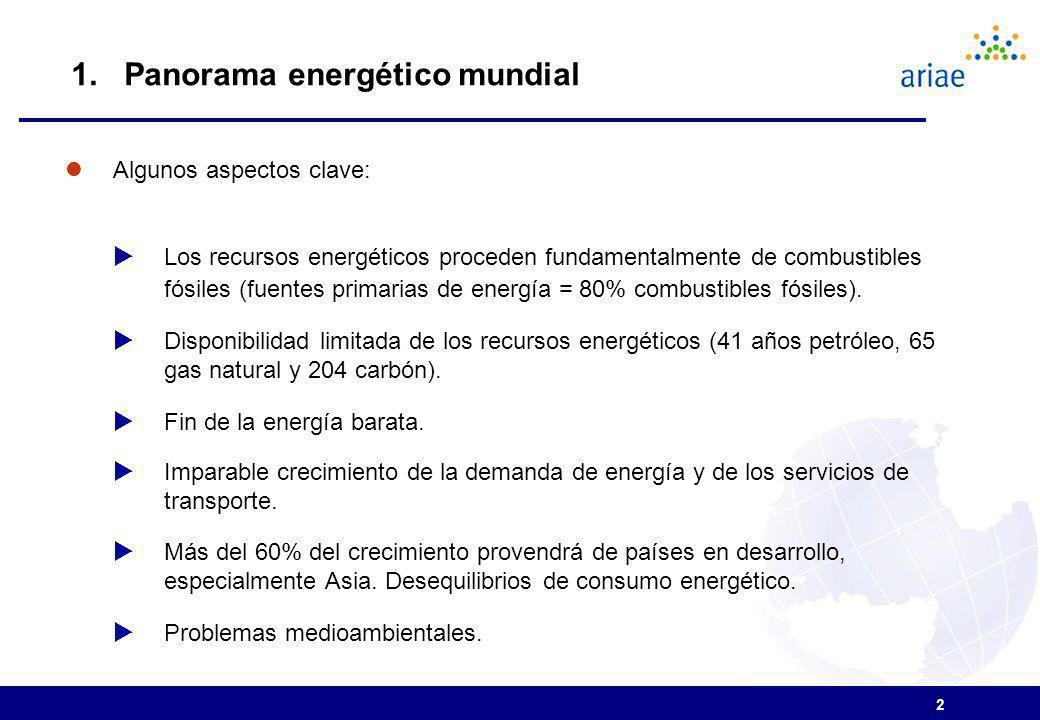 2 Algunos aspectos clave: Los recursos energéticos proceden fundamentalmente de combustibles fósiles (fuentes primarias de energía = 80% combustibles fósiles).