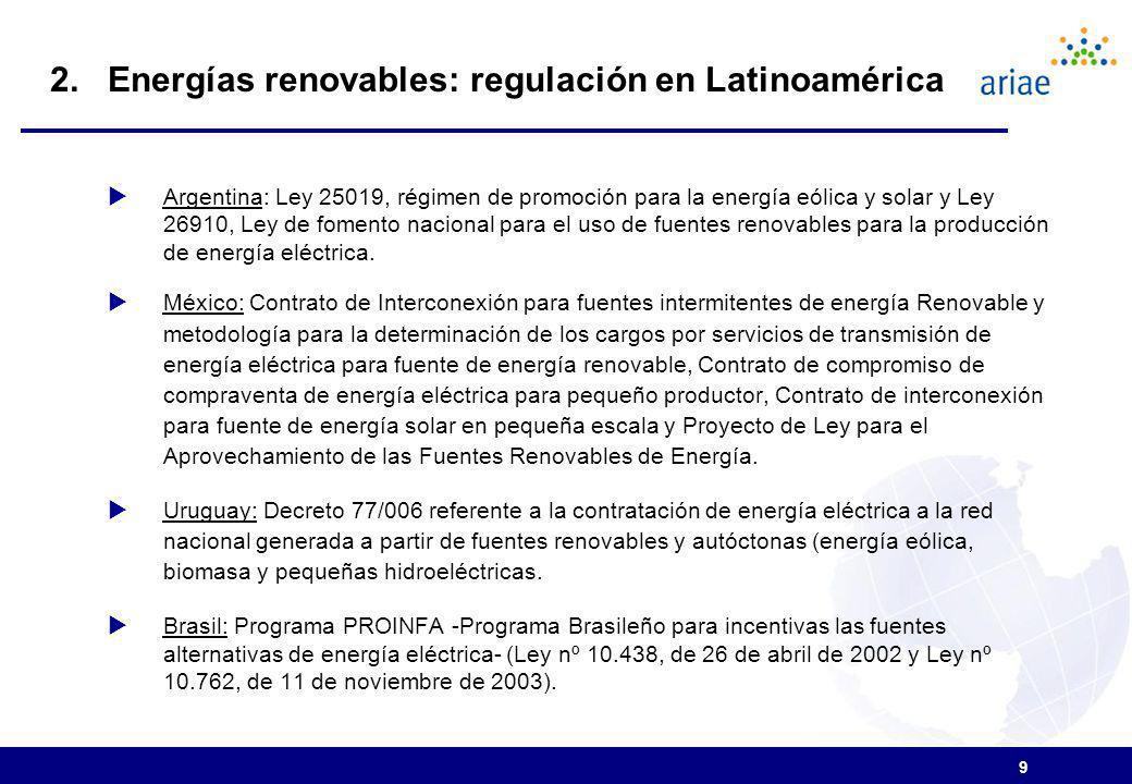 9 Argentina: Ley 25019, régimen de promoción para la energía eólica y solar y Ley 26910, Ley de fomento nacional para el uso de fuentes renovables para la producción de energía eléctrica.