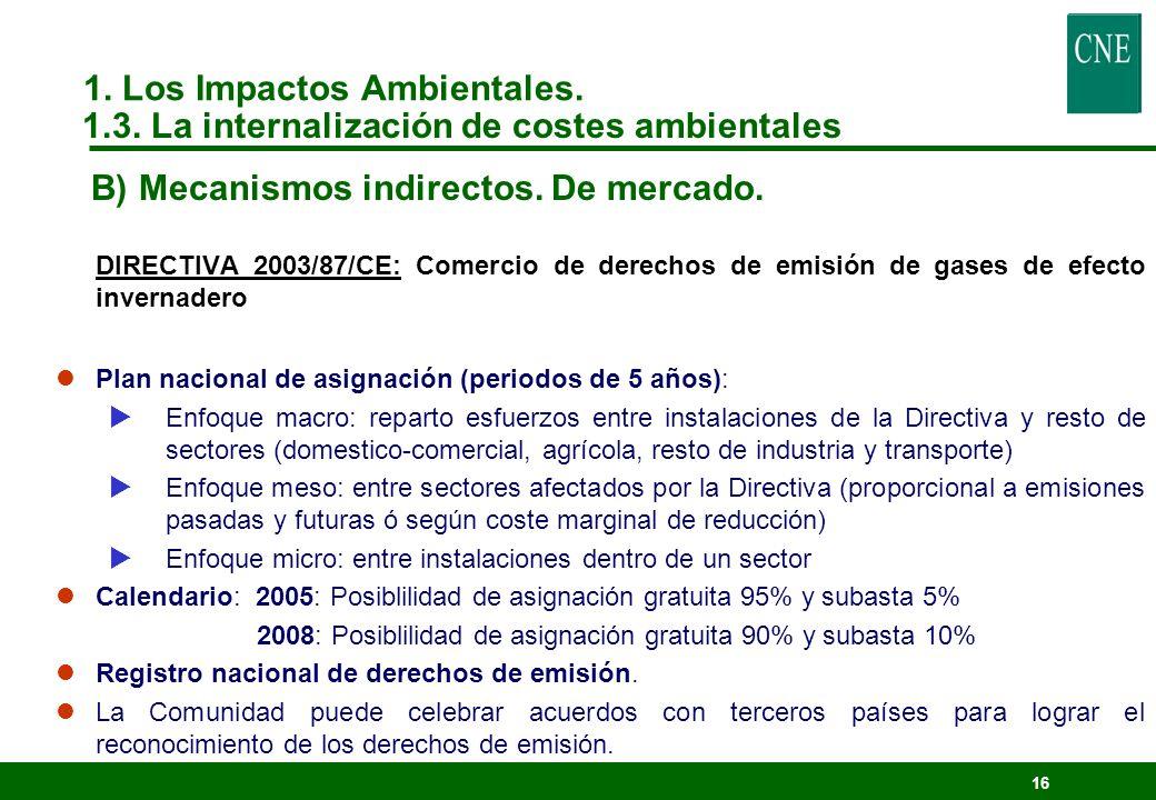 15 DIRECTIVA 2003/87/CE: Comercio de derechos de emisión de gases de efecto invernadero lGases de efecto invernadero: CO 2, CH 4, N 2 O, HFC, PFC y SF 6.