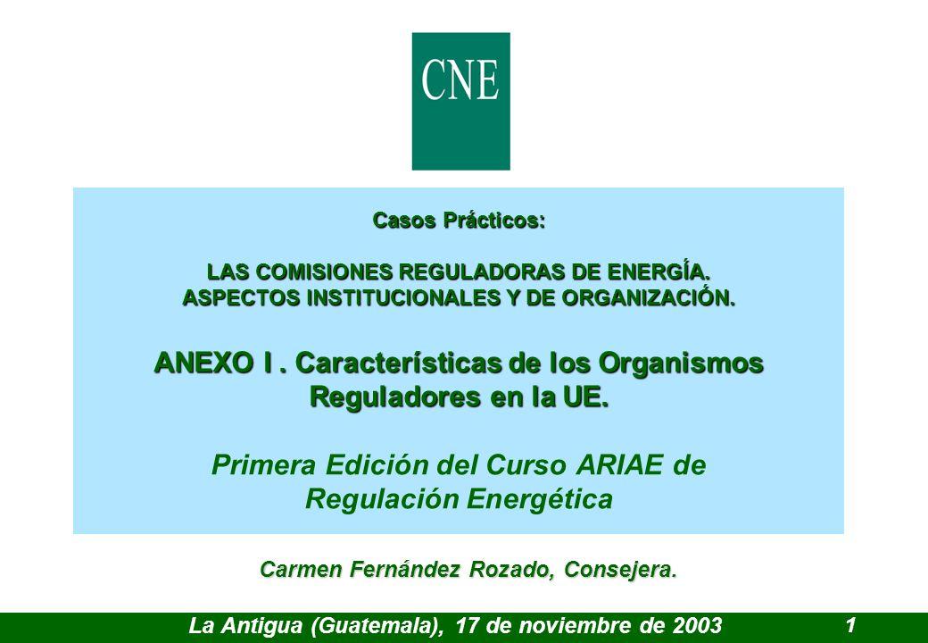 Casos Prácticos: LAS COMISIONES REGULADORAS DE ENERGÍA.