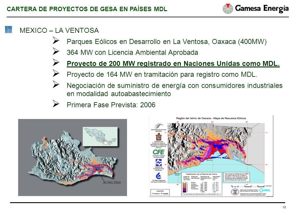 18 MEXICO – LA VENTOSA Parques Eólicos en Desarrollo en La Ventosa, Oaxaca (400MW) 364 MW con Licencia Ambiental Aprobada Proyecto de 200 MW registrad