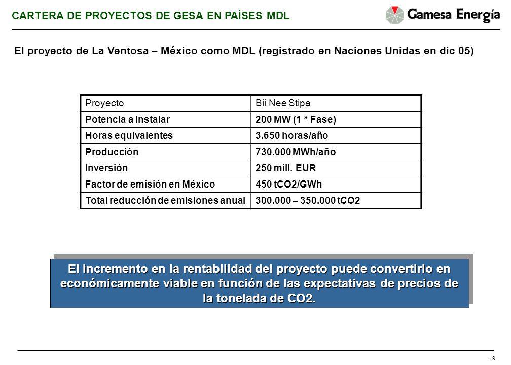 19 El incremento en la rentabilidad del proyecto puede convertirlo en económicamente viable en función de las expectativas de precios de la tonelada d