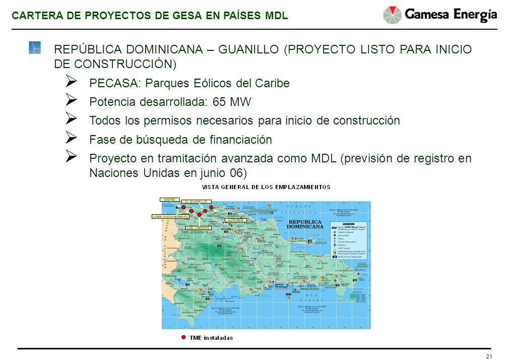 21 REPÚBLICA DOMINICANA – GUANILLO (PROYECTO LISTO PARA INICIO DE CONSTRUCCIÓN) PECASA: Parques Eólicos del Caribe Potencia desarrollada: 65 MW Todos