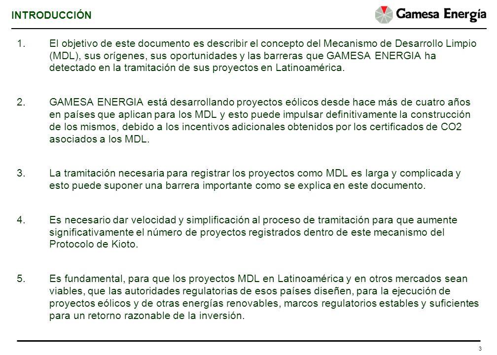 3 INTRODUCCIÓN 1.El objetivo de este documento es describir el concepto del Mecanismo de Desarrollo Limpio (MDL), sus orígenes, sus oportunidades y la
