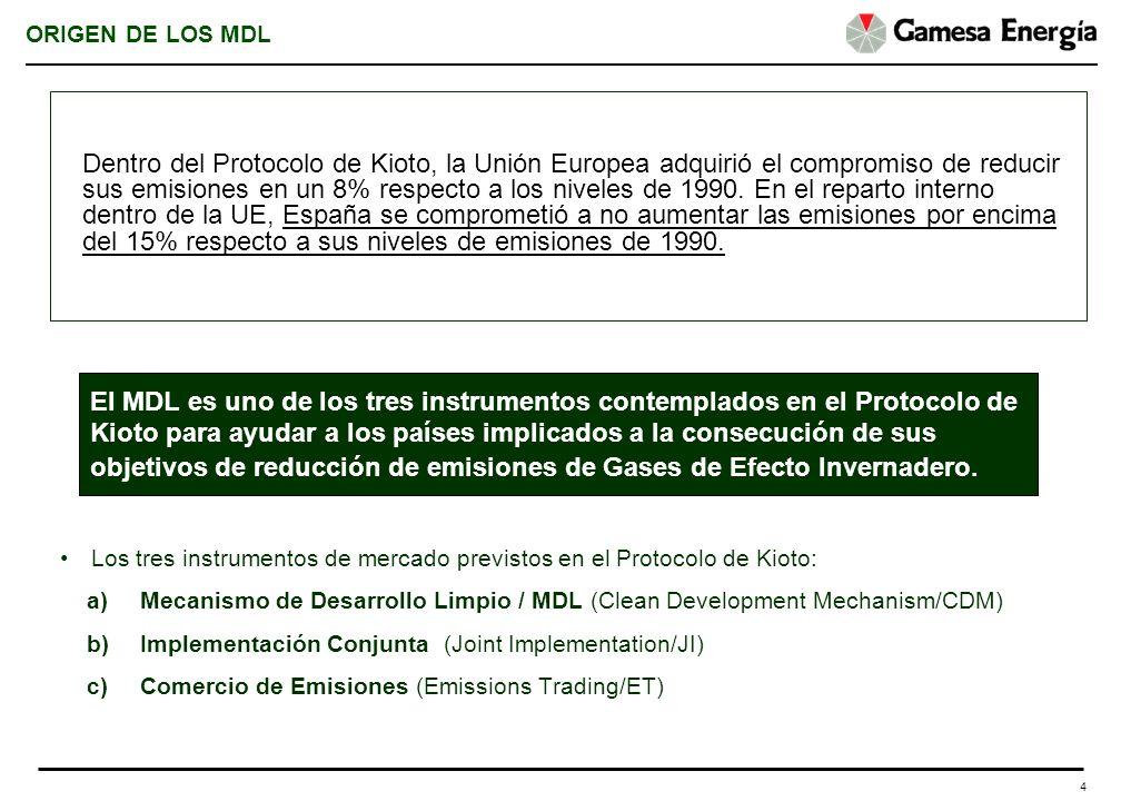 4 ORIGEN DE LOS MDL Los tres instrumentos de mercado previstos en el Protocolo de Kioto: a)Mecanismo de Desarrollo Limpio / MDL (Clean Development Mec