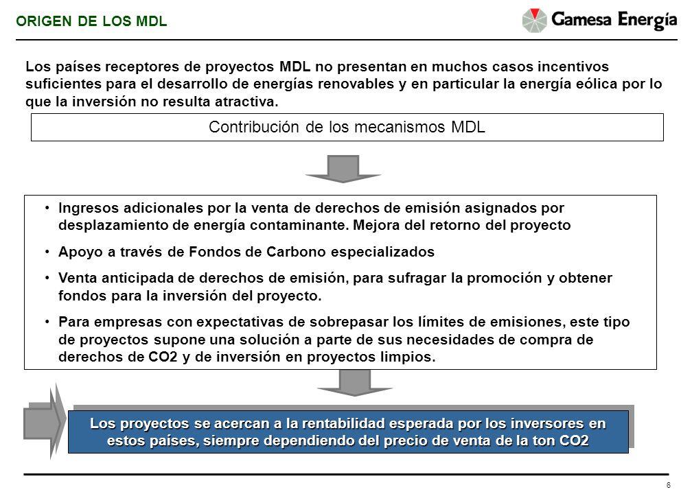 6 Los proyectos se acercan a la rentabilidad esperada por los inversores en estos países, siempre dependiendo del precio de venta de la ton CO2 Ingres