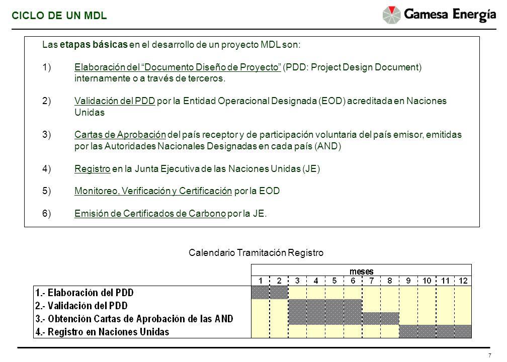7 CICLO DE UN MDL Las etapas básicas en el desarrollo de un proyecto MDL son: 1)Elaboración del Documento Diseño de Proyecto (PDD: Project Design Docu