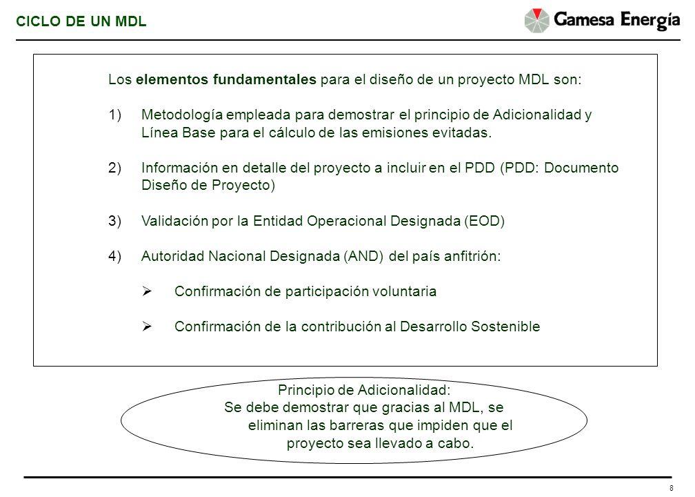 8 CICLO DE UN MDL Los elementos fundamentales para el diseño de un proyecto MDL son: 1)Metodología empleada para demostrar el principio de Adicionalid