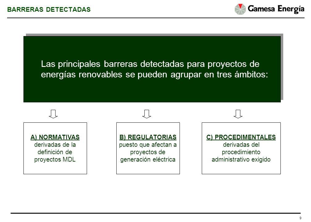 9 BARRERAS DETECTADAS Las principales barreras detectadas para proyectos de energías renovables se pueden agrupar en tres ámbitos: A) NORMATIVAS deriv