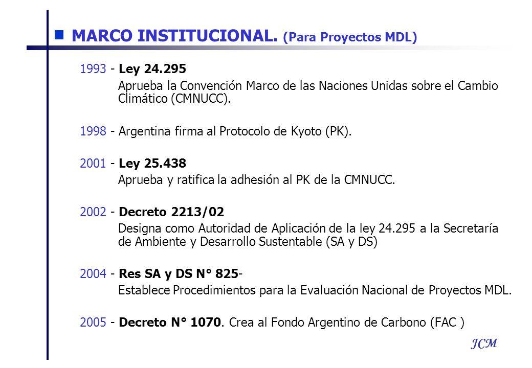 JCM 1993 - Ley 24.295 Aprueba la Convención Marco de las Naciones Unidas sobre el Cambio Climático (CMNUCC). 1998 - Argentina firma al Protocolo de Ky