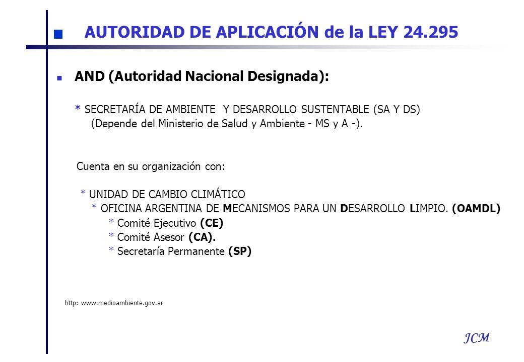 JCM AND (Autoridad Nacional Designada): * SECRETARÍA DE AMBIENTE Y DESARROLLO SUSTENTABLE (SA Y DS) (Depende del Ministerio de Salud y Ambiente - MS y