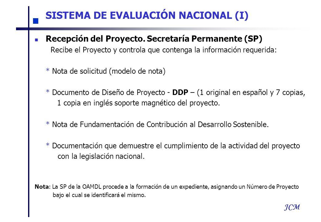 JCM Recepción del Proyecto. Secretaría Permanente (SP) Recibe el Proyecto y controla que contenga la información requerida: * Nota de solicitud (model