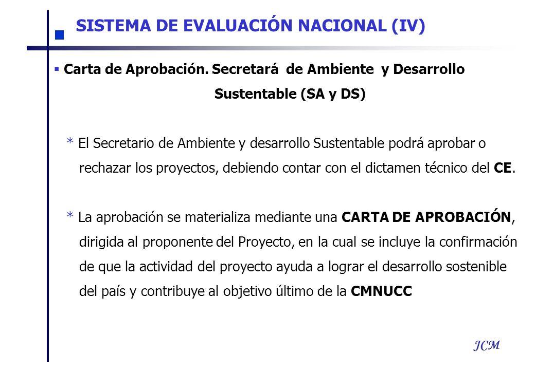 JCM SISTEMA DE EVALUACIÓN NACIONAL (IV) Carta de Aprobación. Secretará de Ambiente y Desarrollo Sustentable (SA y DS) * El Secretario de Ambiente y de
