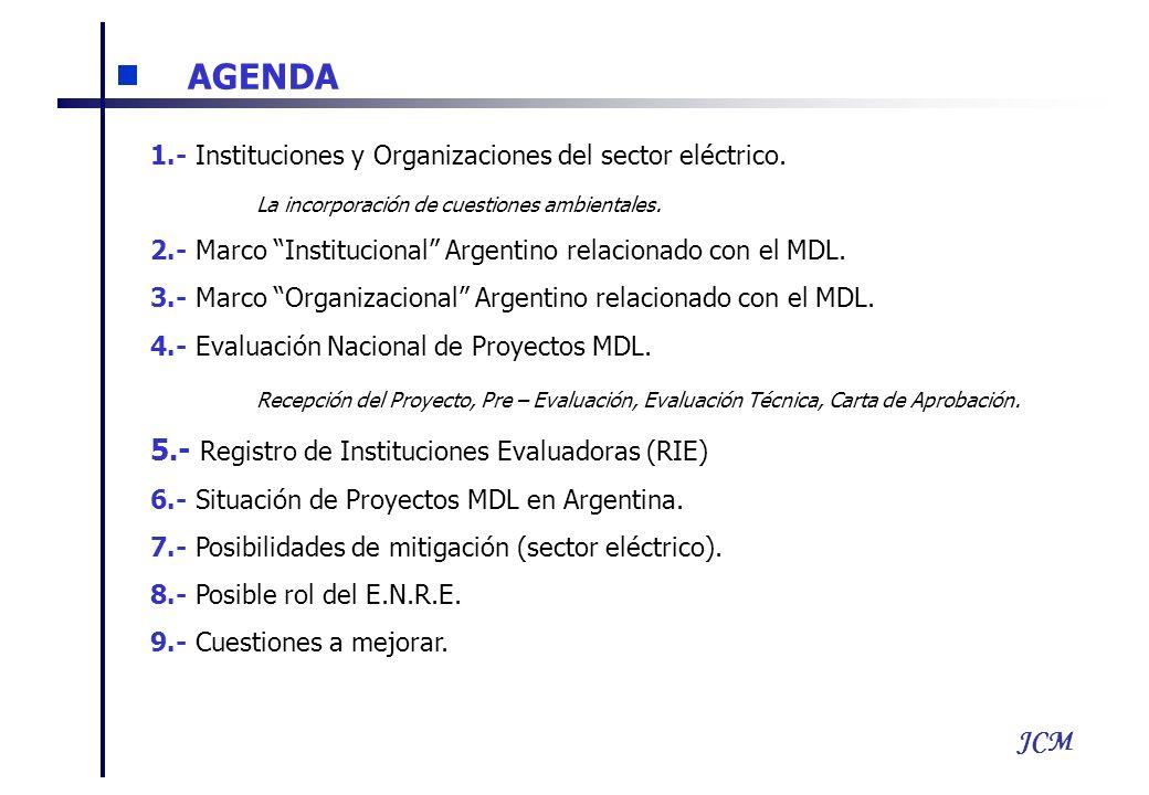 JCM AGENDA 1.- Instituciones y Organizaciones del sector eléctrico. La incorporación de cuestiones ambientales. 2.- Marco Institucional Argentino rela