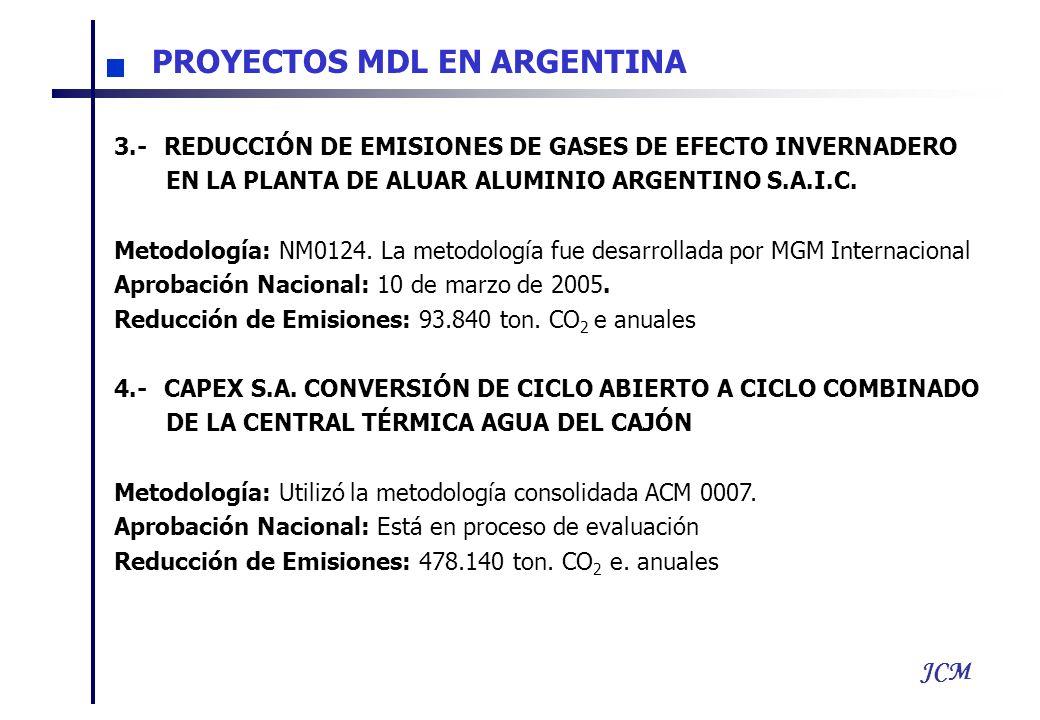 JCM 3.- REDUCCIÓN DE EMISIONES DE GASES DE EFECTO INVERNADERO EN LA PLANTA DE ALUAR ALUMINIO ARGENTINO S.A.I.C. Metodología: NM0124. La metodología fu