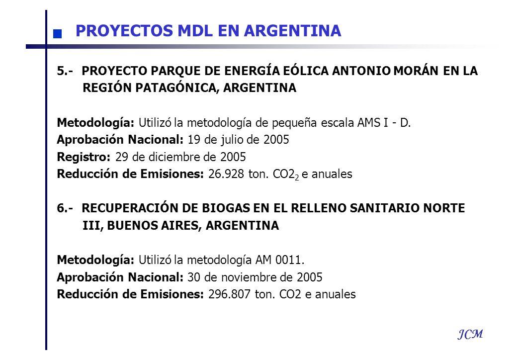JCM 5.-PROYECTO PARQUE DE ENERGÍA EÓLICA ANTONIO MORÁN EN LA REGIÓN PATAGÓNICA, ARGENTINA Metodología: Utilizó la metodología de pequeña escala AMS I - D.
