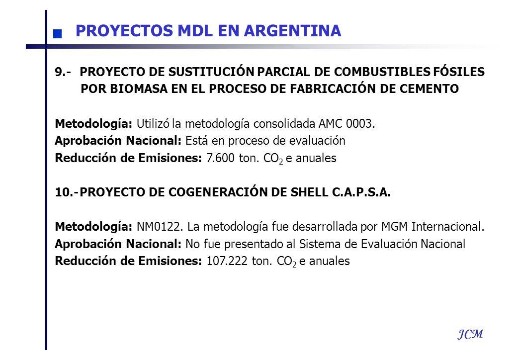 JCM 9.-PROYECTO DE SUSTITUCIÓN PARCIAL DE COMBUSTIBLES FÓSILES POR BIOMASA EN EL PROCESO DE FABRICACIÓN DE CEMENTO Metodología: Utilizó la metodología consolidada AMC 0003.