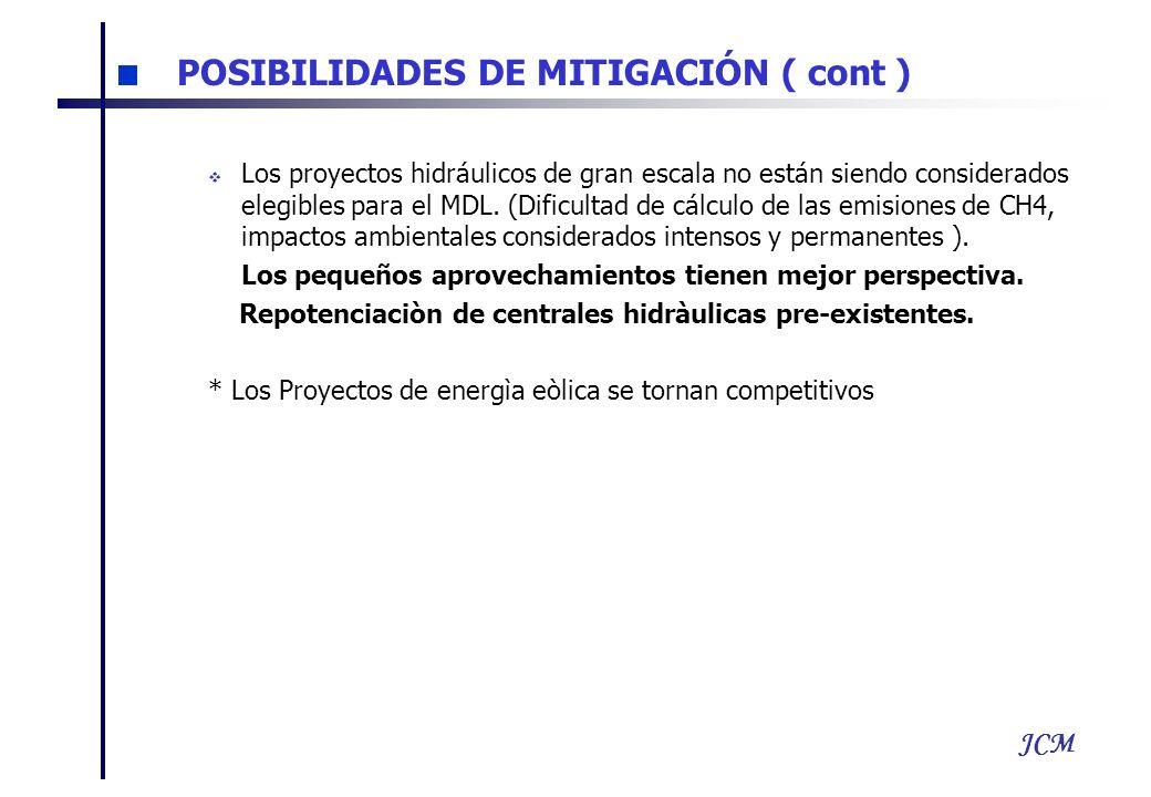 JCM Los proyectos hidráulicos de gran escala no están siendo considerados elegibles para el MDL. (Dificultad de cálculo de las emisiones de CH4, impac