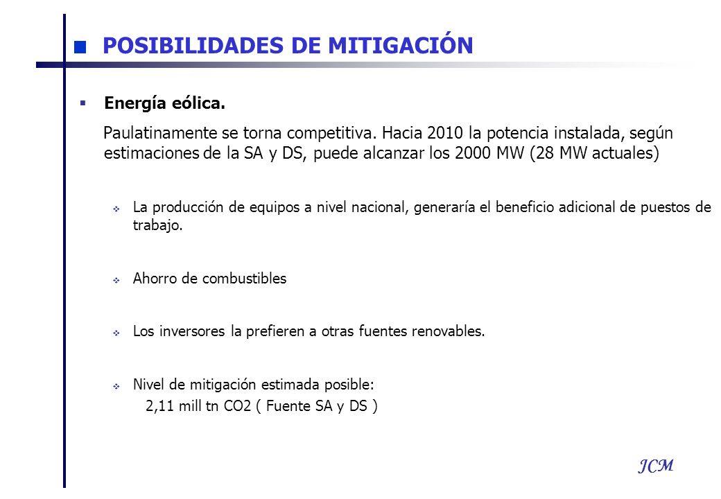 JCM Energía eólica. Paulatinamente se torna competitiva. Hacia 2010 la potencia instalada, según estimaciones de la SA y DS, puede alcanzar los 2000 M