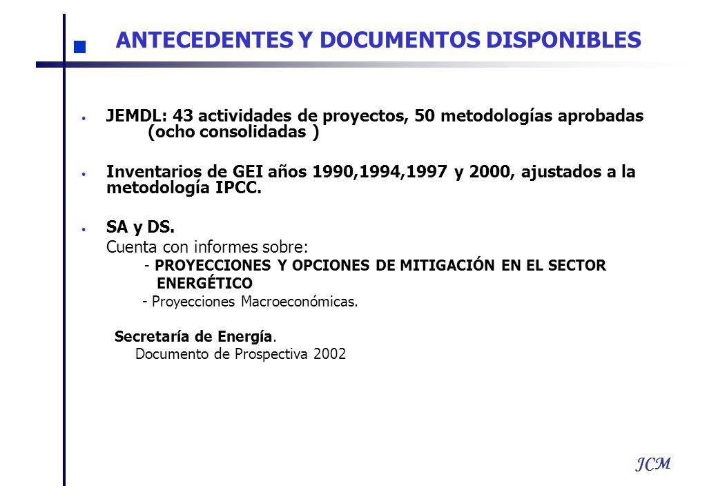 JCM JEMDL: 43 actividades de proyectos, 50 metodologías aprobadas (ocho consolidadas ) Inventarios de GEI años 1990,1994,1997 y 2000, ajustados a la m