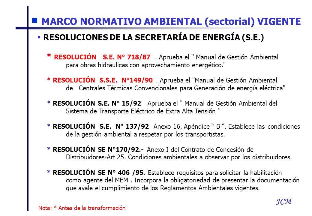 JCM MARCO NORMATIVO AMBIENTAL (sectorial) VIGENTE RESOLUCIONES DE LA SECRETARÍA DE ENERGÍA (S.E.) * RESOLUCIÓN S.E. N° 718/87. Aprueba el