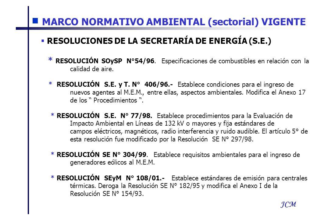 JCM RESOLUCIONES DE LA SECRETARÍA DE ENERGÍA (S.E.) * RESOLUCIÓN SOySP N°54/96. Especificaciones de combustibles en relación con la calidad de aire. *