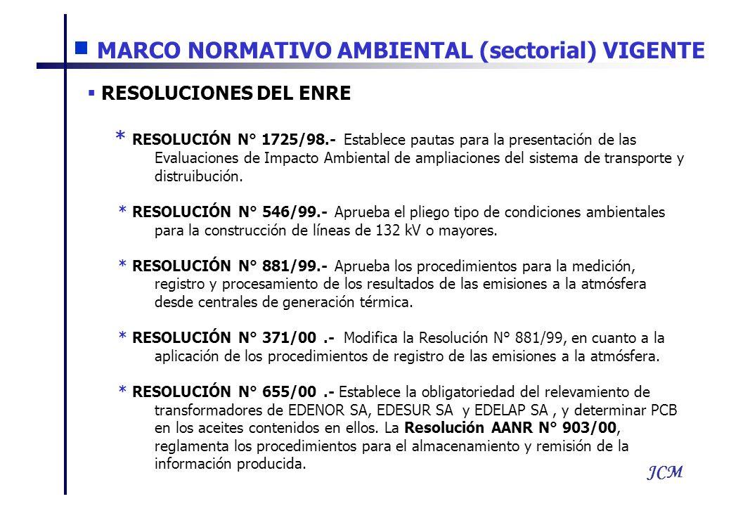 JCM RESOLUCIONES DEL ENRE * RESOLUCIÓN N° 1725/98.- Establece pautas para la presentación de las Evaluaciones de Impacto Ambiental de ampliaciones del