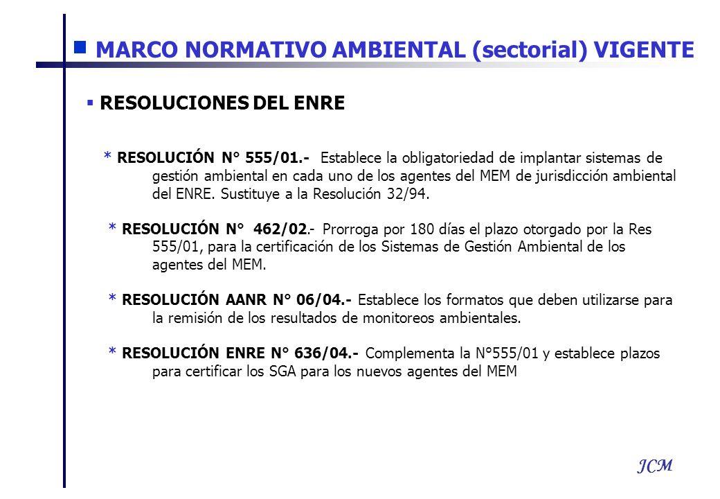 JCM RESOLUCIONES DEL ENRE * RESOLUCIÓN N° 555/01.- Establece la obligatoriedad de implantar sistemas de gestión ambiental en cada uno de los agentes del MEM de jurisdicción ambiental del ENRE.