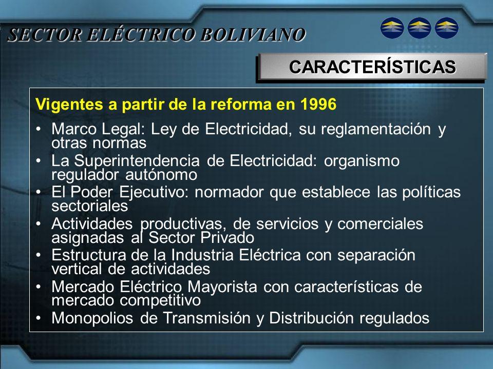 SECTOR ELÉCTRICO BOLIVIANO CARACTERÍSTICASCARACTERÍSTICAS Vigentes a partir de la reforma en 1996 Marco Legal: Ley de Electricidad, su reglamentación