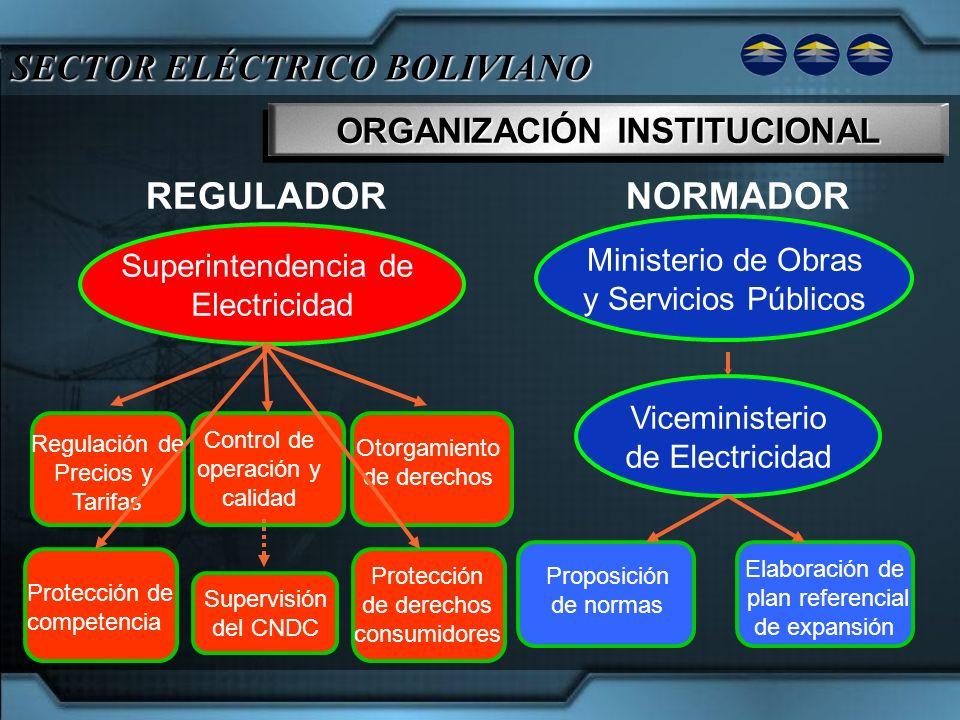 SECTOR ELÉCTRICO BOLIVIANO ORGANIZACIÓN INSTITUCIONAL Ministerio de Obras y Servicios Públicos Superintendencia de Electricidad Viceministerio de Elec