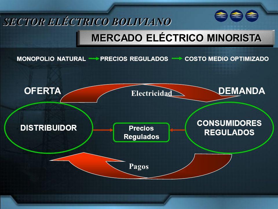 SECTOR ELÉCTRICO BOLIVIANO MERCADO ELÉCTRICO MINORISTA Electricidad OFERTADEMANDA DISTRIBUIDOR CONSUMIDORES REGULADOS Pagos MONOPOLIO NATURAL PRECIOS