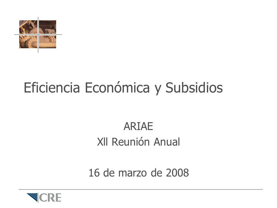 Índice Introducción Eficiencia económica y subsidios – Subsidios cruzados – Subsidios a la cantidad Ejemplo: gas LP Conclusiones
