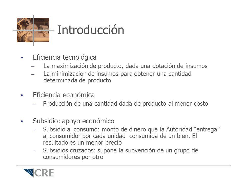 Subsidios cruzados Típicamente, transferencias de recursos de un grupo de usuarios a otro (industriales a residenciales, por ejemplo) Eficiencia económica y subsidios Precio Cantidad Cmg 1 Cmg 2 Cmg prom.