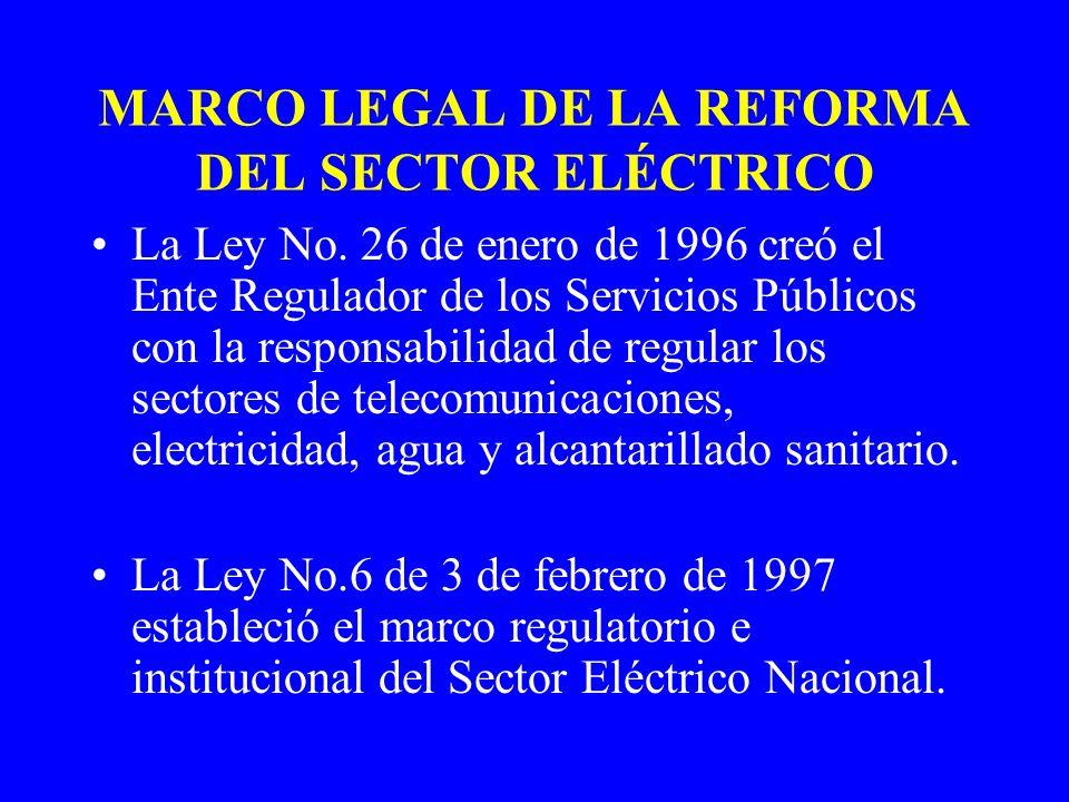 MARCO LEGAL DE LA REFORMA DEL SECTOR ELÉCTRICO La Ley No. 26 de enero de 1996 creó el Ente Regulador de los Servicios Públicos con la responsabilidad