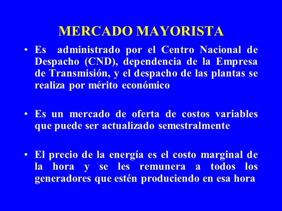 MERCADO MAYORISTA Es administrado por el Centro Nacional de Despacho (CND), dependencia de la Empresa de Transmisión, y el despacho de las plantas se