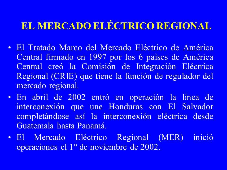 EL MERCADO ELÉCTRICO REGIONAL El Tratado Marco del Mercado Eléctrico de América Central firmado en 1997 por los 6 países de América Central creó la Co