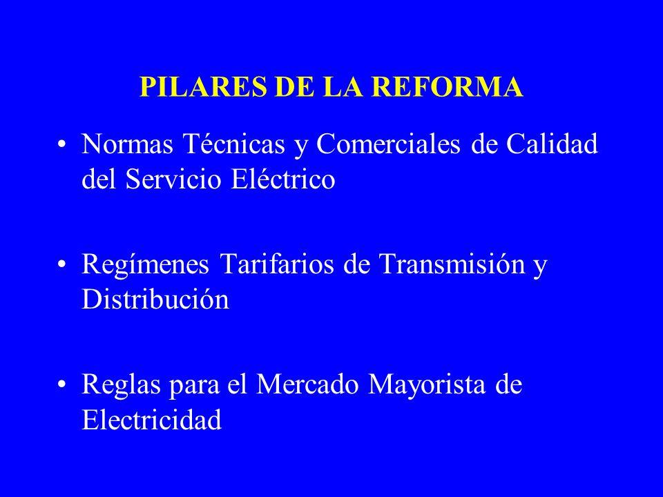 PILARES DE LA REFORMA Normas Técnicas y Comerciales de Calidad del Servicio Eléctrico Regímenes Tarifarios de Transmisión y Distribución Reglas para e