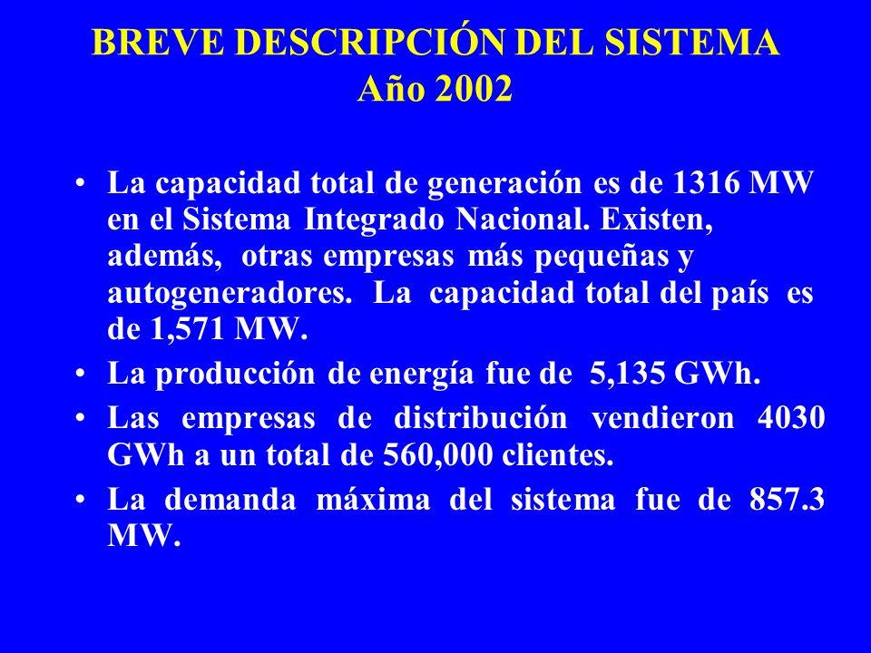 BREVE DESCRIPCIÓN DEL SISTEMA Año 2002 La capacidad total de generación es de 1316 MW en el Sistema Integrado Nacional. Existen, además, otras empresa