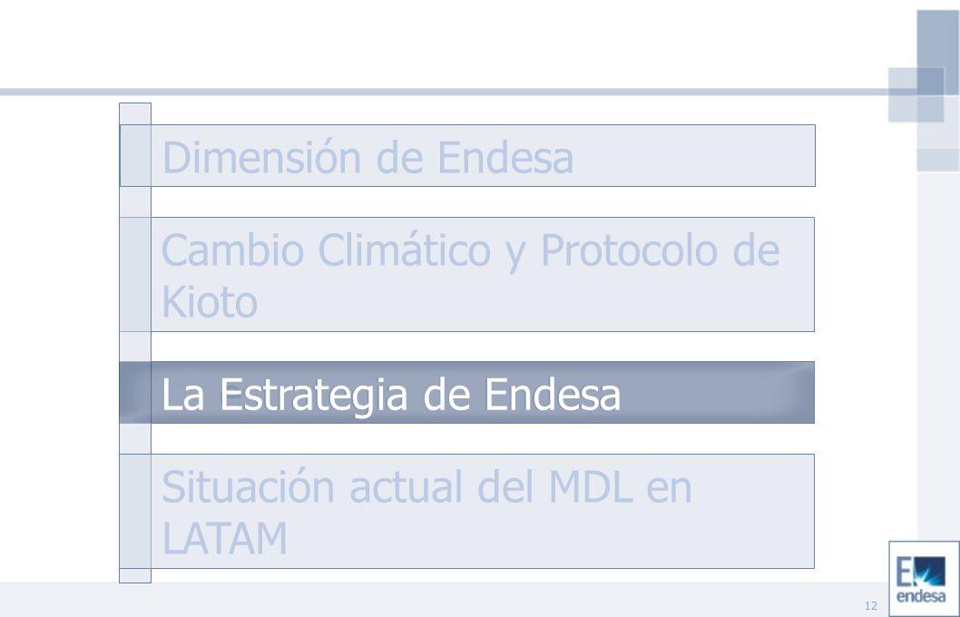 12 Cambio Climático y Protocolo de Kioto La estrategia de Endesa Situación actual del MDL en LATAM Dimensión de Endesa La Estrategia de Endesa
