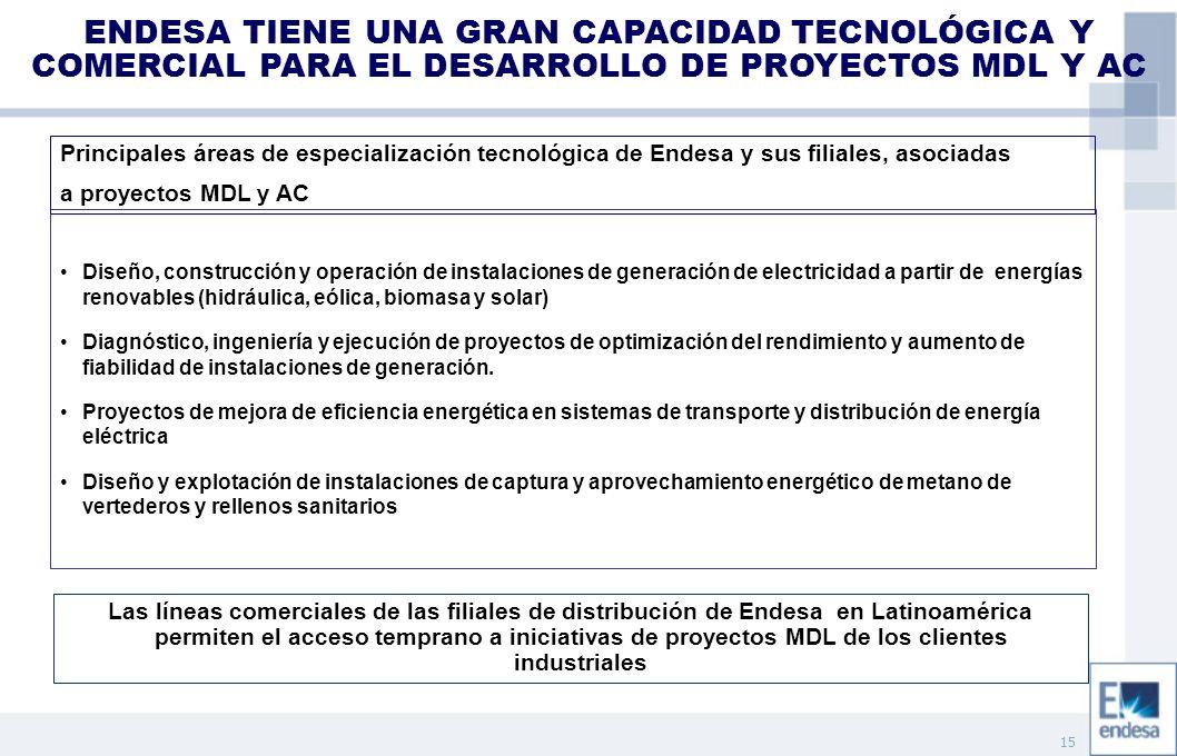 15 ENDESA TIENE UNA GRAN CAPACIDAD TECNOLÓGICA Y COMERCIAL PARA EL DESARROLLO DE PROYECTOS MDL Y AC Diseño, construcción y operación de instalaciones